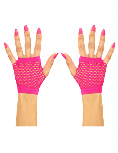 80er-Jahre Netzhandschuhe fingerlos neonpink