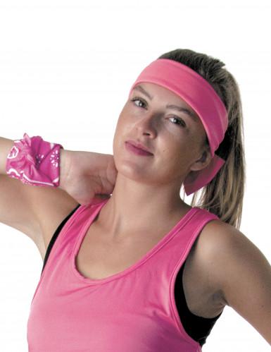80er-Jahre Schleifen-Haarband pink