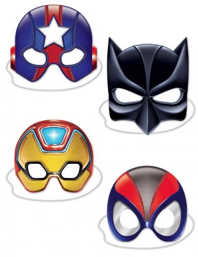 Superhelden-Kartonmasken Comic-Masken 4 Stück bunt