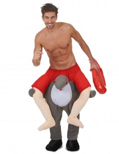 Haifisch-Surfer-Kostüm grau-rot-weiss-1