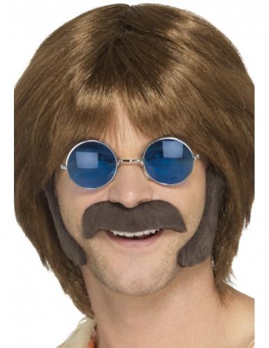 Hippie-Set aus braunem Schnurrbart und Koteletten