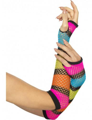 90er Netz-Handschuhe Kostümaccessoire neonbunt