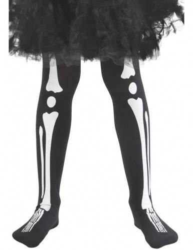 Skelett-Strumpfhose für Kinder Halloween-Accessoire schwarz-weiss