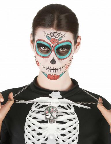 dia de los muertos halskette mit totenkopf halloween. Black Bedroom Furniture Sets. Home Design Ideas