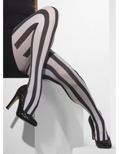 Streifen-Strumpfhose Harlekin-Accessoire weiss-schwarz