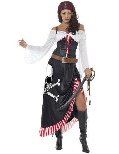 Totenkopfpiratin-Damenkostüm Seeräuberin schwarz-weiss