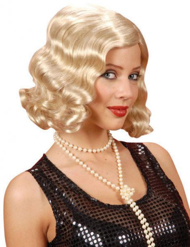 20er jahre bob per cke locken blond g nstige faschings accessoires zubeh r bei karneval. Black Bedroom Furniture Sets. Home Design Ideas