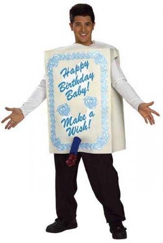 Happy Birthday Kuchen Kostüm weiss-blau
