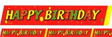 Absperrband Happy Birthday Geburtstagsdeko rot-grün-gelb 600x6cm