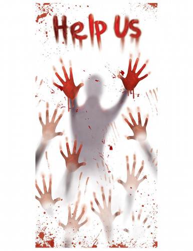 Blutige halloween t rdeko help us weiss rot 152x76cm g nstige faschings partydeko zubeh r - Halloween turdeko ...