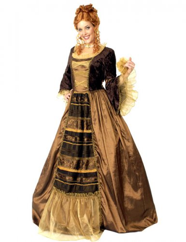 Nobles Barock-Kleid Damenkostüm Plus Size braun-gold