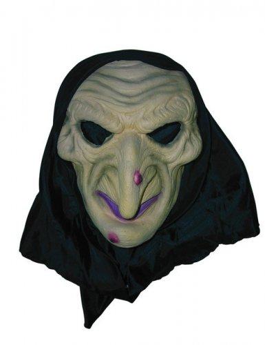 Klassische Hexen-Maske mit Warze Halloween-Maske beige-schwarz