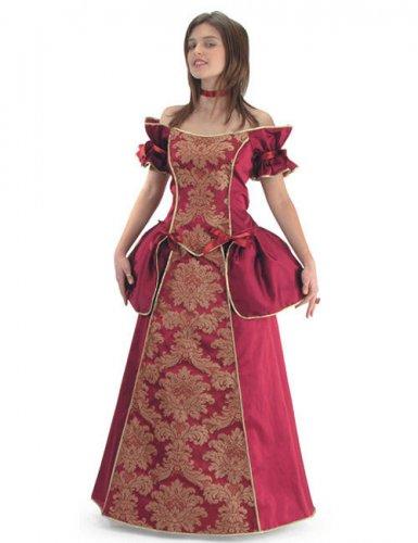 Barock Gräfin Damenkostüm rot-gold