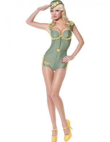 Sexy Fliegerin Damenkostüm Pilotin grün