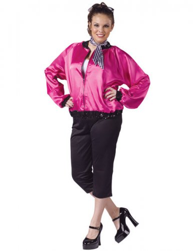 Rock'n'Roll Kostüm XL schwarz-pink