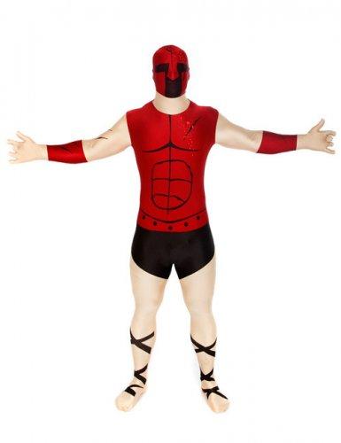 Morphsuit Spartaner Ganzkörperanzug beige-rot-schwarz