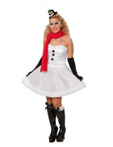 Schneefrau-Damenkostüm Weihnachten weiss-rot-schwarz , günstige ...