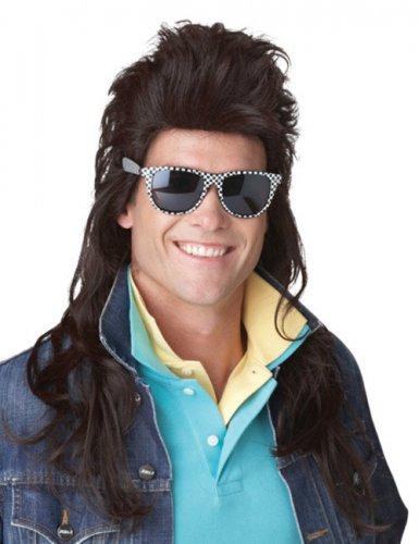 80er Jahre Rocker Langhaar Vokuhila Perücke braun