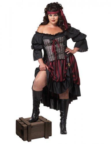 Sexy Piratin Damenkostüm XXL schwarz-bordeaux