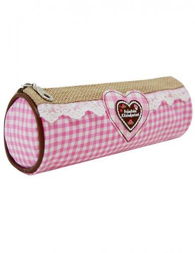 Lebkuchen Federmäppchen rosa-weiss-beige 20x7x7cm