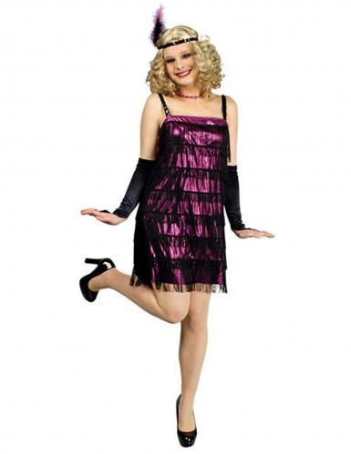 20er Charleston Flapper Damenkostüm lila-schwarz
