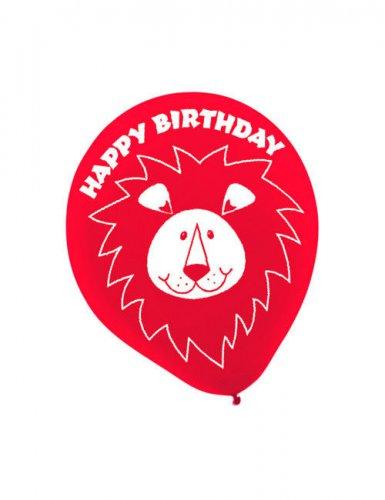 Luftballon-Set Happy Birthday Löwe Party-Deko 6 Stück rot 28cm