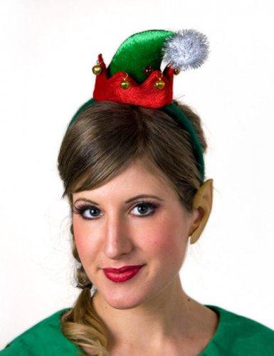 Weihnachts-Elfe Minihut Wichtel-Hut rot-grün