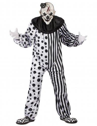 Horror-Clownkostüm für Herren Halloween-Kostüm schwarz-weiss