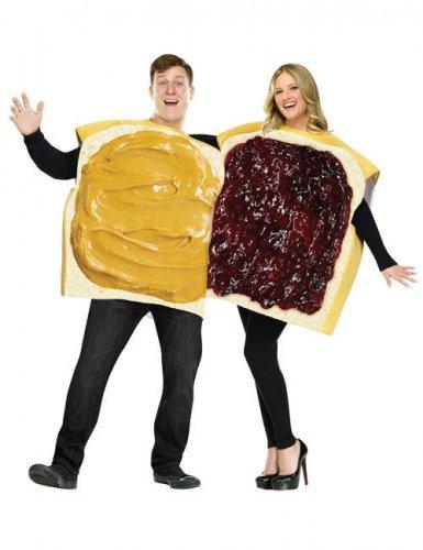 Erdnussbutter Marmelade Sandwich Kostüm Set gelb-beige-rot