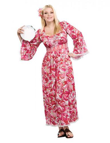 60er 70er hippie kleid damenkost m xl pink weiss g nstige faschings kost me bei karneval megastore. Black Bedroom Furniture Sets. Home Design Ideas
