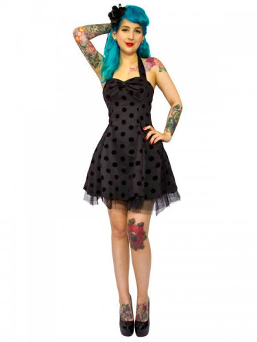Hearts and Roses Rockabilly 50er Petticoat-Minikleid Dots schwarz
