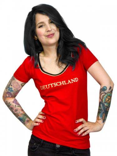 Deutschland Damen Fussball-Fanshirt rot-schwarz-gold
