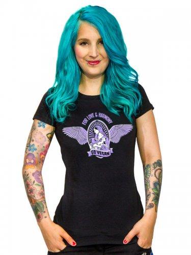 Veganer-Damenshirt Girlie-Shirt For Love and Harmony schwarz-lila