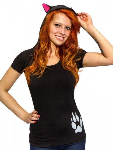 Damenshirt mit Kapuze und Katzen-Ohren Kreepsville-Oberteil