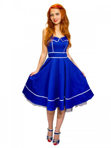 Hearts and Roses Rockabilly 50er Kleid Sailor blau