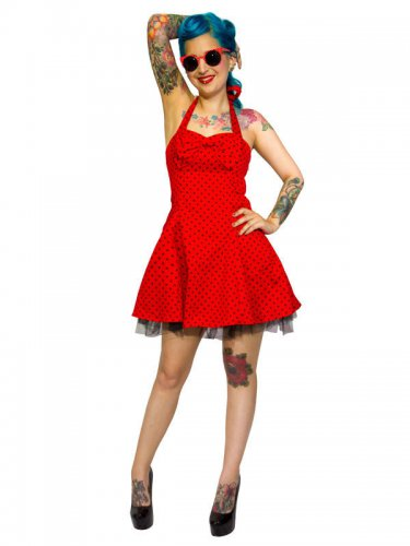 Hearts and Roses Rockabilly 50er Minikleid Small Dots rot-schwarz