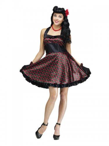 50er-Jahre Rockabilly Damenkostüm Pin-Up schwarz-rot
