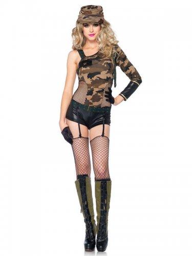 Sexy Soldatin Damenkostüm camouflage