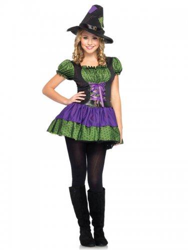 Süße Hexe Halloween-Teenkostüm grün-lila
