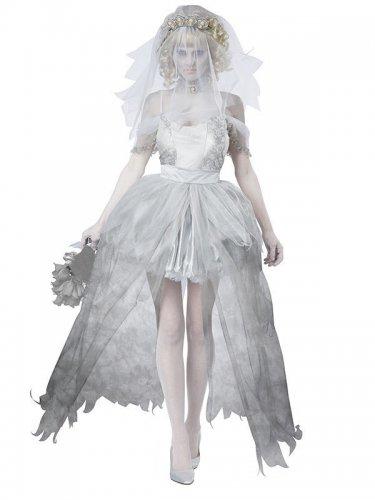 Geisterbraut-Kostüm für Damen Geist Halloween Damenkostüm weiss