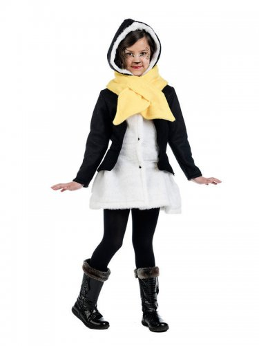 Kinder-Mantel Pinguin mit Schal weiss-schwarz-gelb