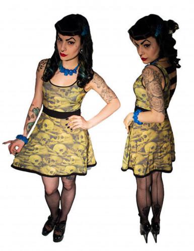 Kreepsville-Kleid Totenkopf-Kleid für Halloween gelb