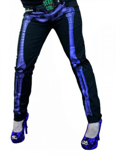 Kreepsville Gothic Jeans Hose Skelett schwarz-lila