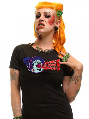 Kreepsville-Damenshirt Girlie-Shirt Wax your Werewolf schwarz-rot-blau