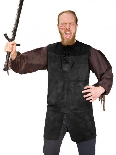 Mittelalter Echt-Leder Tunika mit Schnallen LARP Rollenspiel schwarz