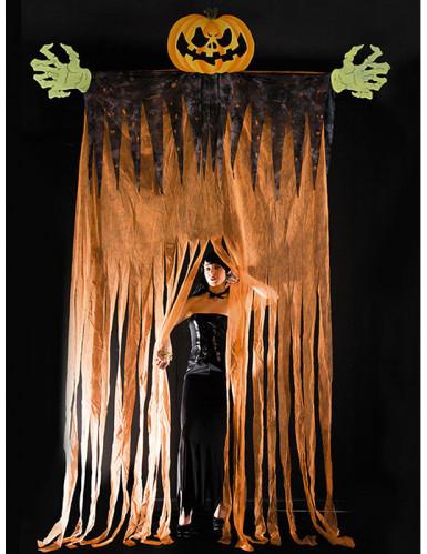 Riesige t rdeko halloweenparty eingangstor k rbis orange schwarz 350cm g nstige faschings - Halloween turdeko ...