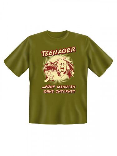 Teenager ohne Internet T-Shirt grün-beige-rot