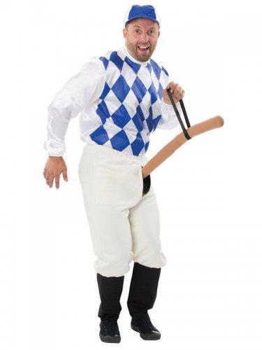 Wilder Jockey Penis Reiter Herrenkostüm weiss-blau-beige
