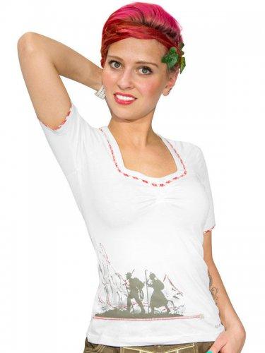 Spieth und Wensky Trachten T-Shirt Wagma weiss-rot