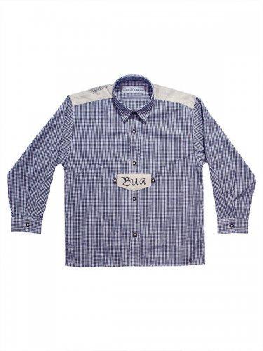Kinder Trachten Karo-Hemd langarm blau-weiss